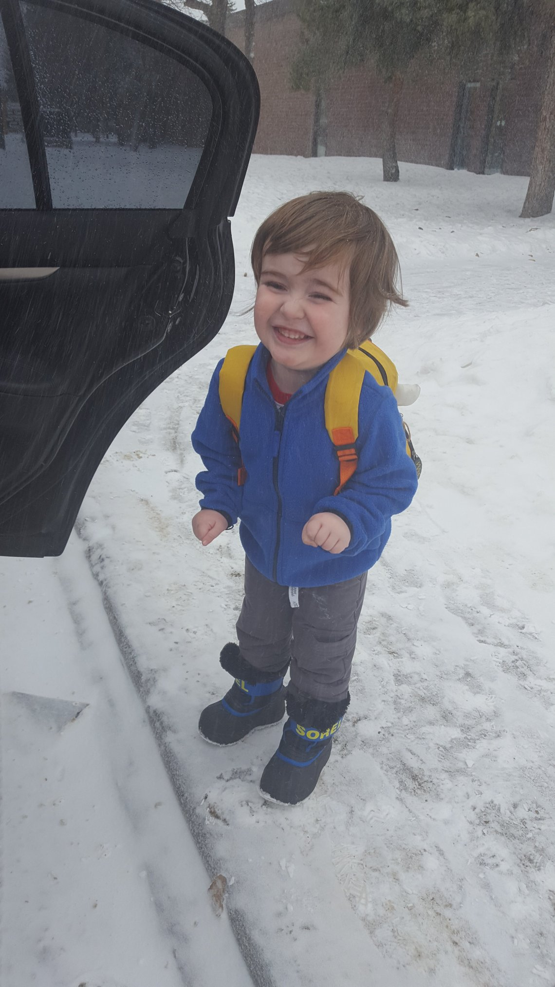 Has there ever been a happier kid on their first day of preschool?