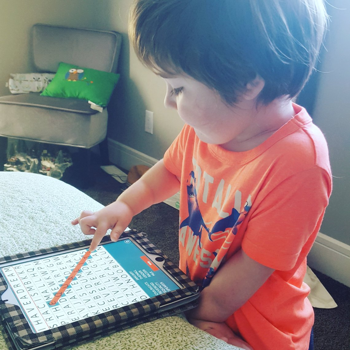 Word searches are one of the many games Cub enjoys playing.