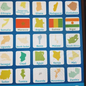 This is from Cub's app, ABCya! Games, where he has learned the flags and locations of these and other African countries.
